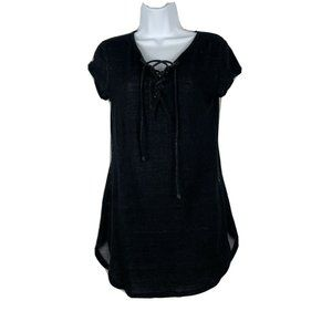 Polly & Esther Black Lace Front Tshirt